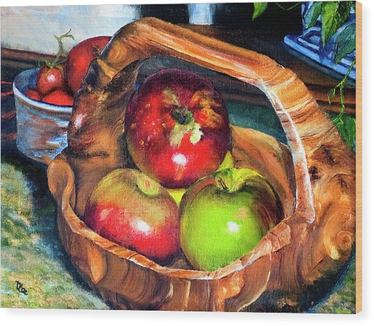Apples In A Burled Bowl Wood Print