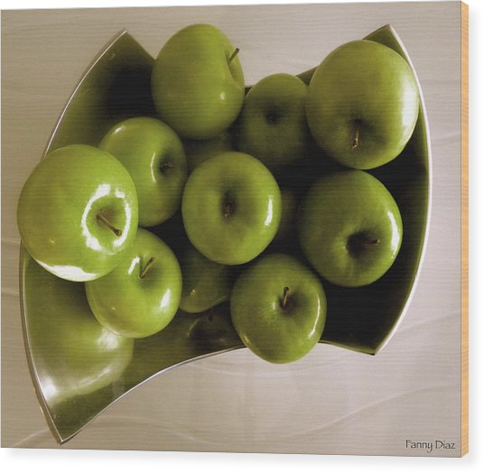 Apples In A Silver Vase 2 Wood Print by Fanny Diaz