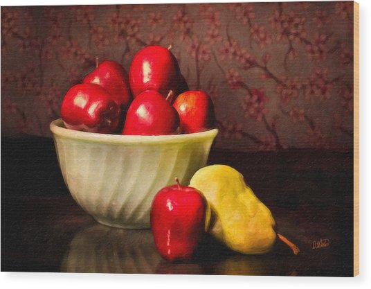 Apples In Bowl With Pear Wood Print