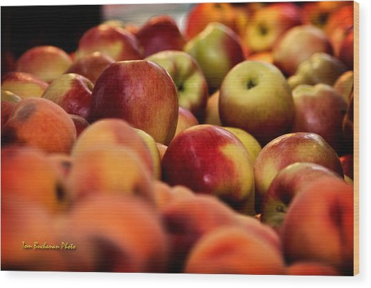 Apples In The Market Wood Print