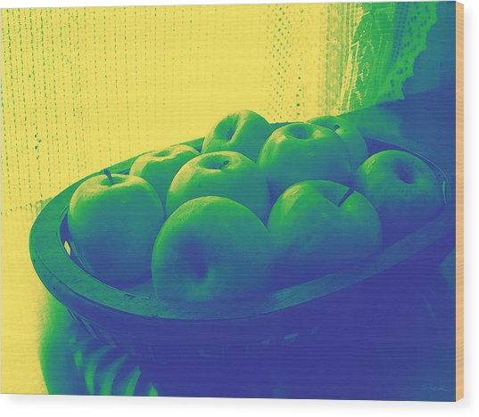 Apples In Yellow Blue And Green Wood Print