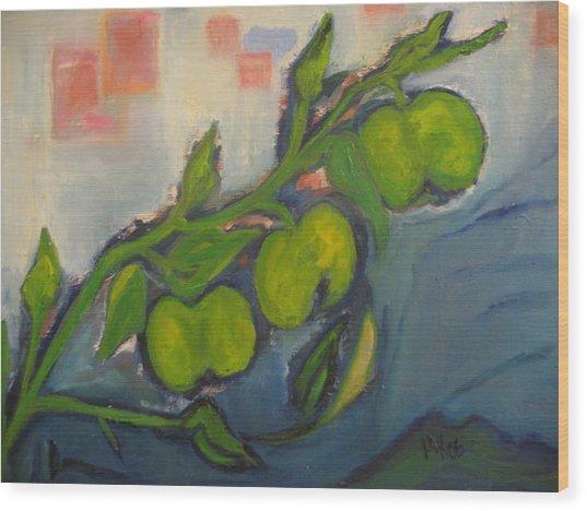 Apples Wood Print by Maria  Kolucheva
