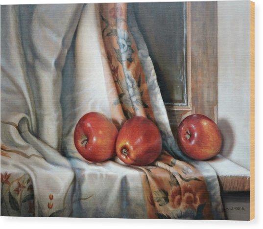 Apples On The Windowsill Wood Print