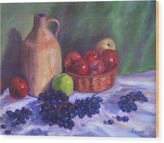 Apples With Grapes Wood Print by Richard Nowak