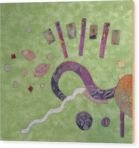 Applique 1 Wood Print by Eileen Hale