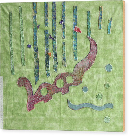Applique 9 Wood Print by Eileen Hale