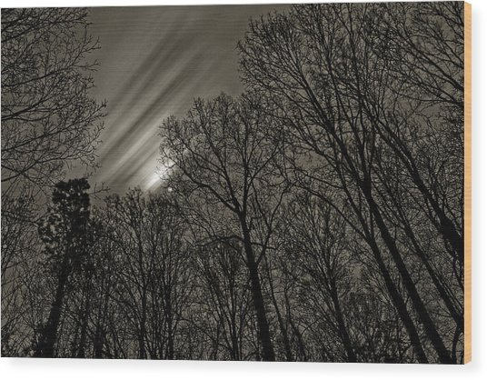 Approaching Storm, Black And White Wood Print