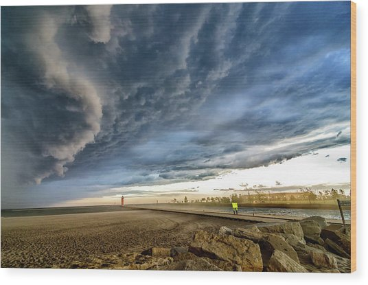 Wood Print featuring the photograph Approaching Storm by Steven Santamour