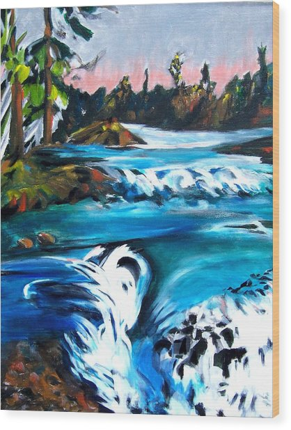 Approaching The Falls Wood Print by Patricia Bigelow