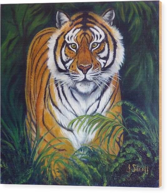 Approaching Tiger Wood Print by Janet Silkoff