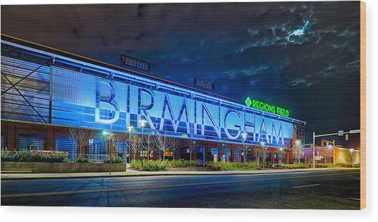 April 2015 -  Birmingham Alabama Baseball Regions Field At Night Wood Print