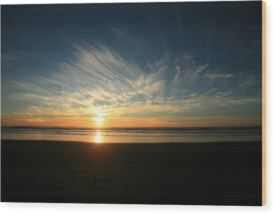 April Beach Sunset Wood Print by Mike Coverdale