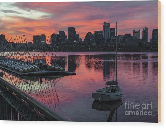 April Sunrise Wood Print by Mike Ste Marie