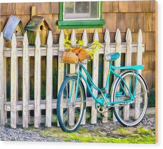 Aqua Antique Bicycle Along Fence Wood Print