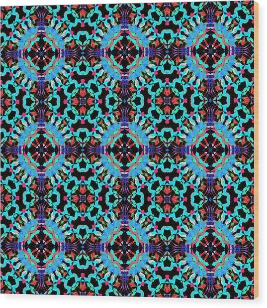 Aqua Geometric Mandala Wood Print
