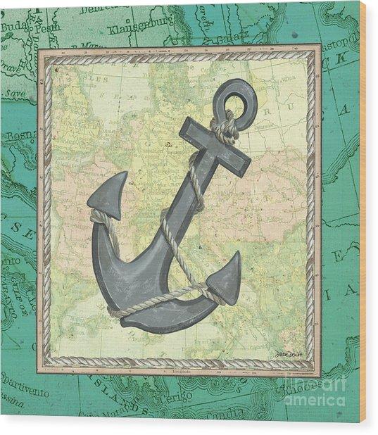Aqua Maritime Anchor Wood Print