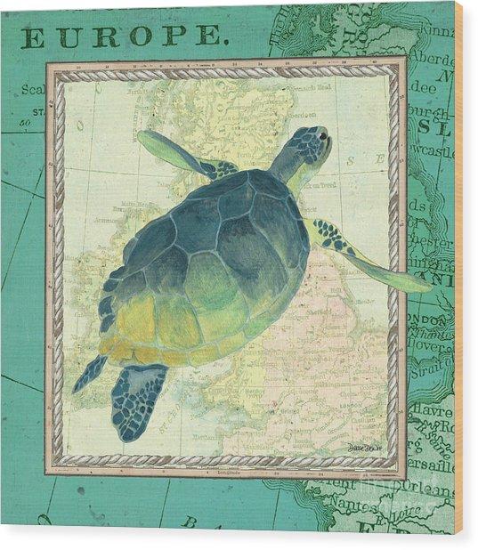 Aqua Maritime Sea Turtle Wood Print