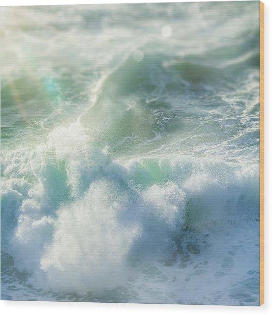 Aqua Surge Wood Print