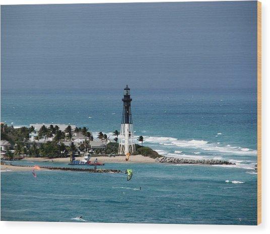 Aqua Water At The Lighthouse Wood Print