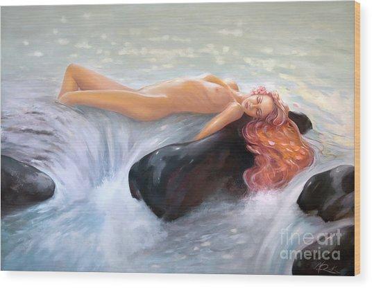 Aquamarine Sea Goddess Wood Print
