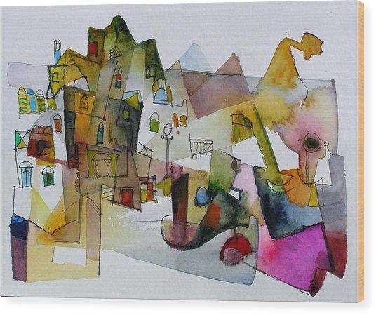 Aquarel No32 Wood Print by Miljenko Bengez