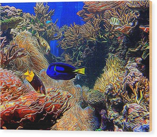 Aquarium Adventures In Abstract Wood Print