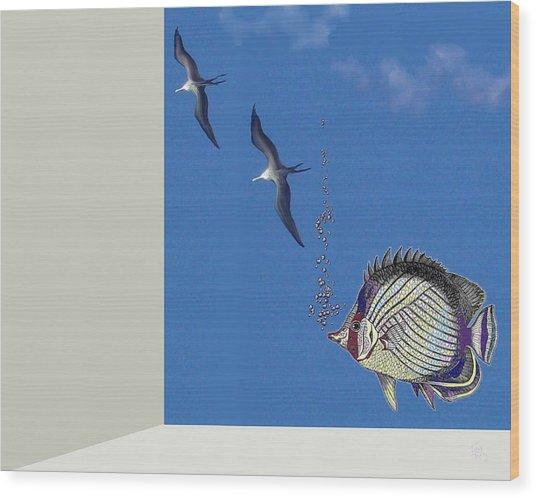 Aquarium Wood Print by Tony Rodriguez