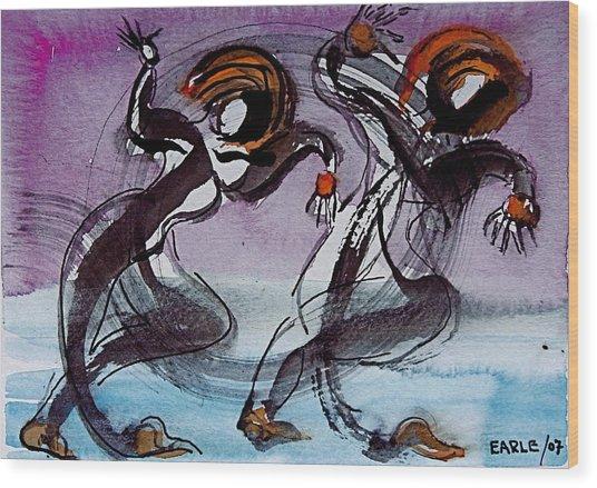 Aquatic Dancers Wood Print by Dan Earle