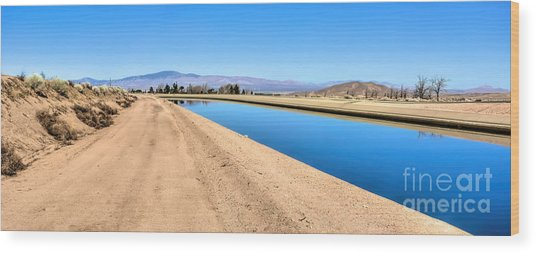 Aqueduct And The Tehachapi Mountains Wood Print