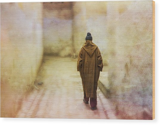 Arab Man Walking - Morocco 2 Wood Print