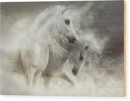 Arabian Horses Sandstorm Wood Print