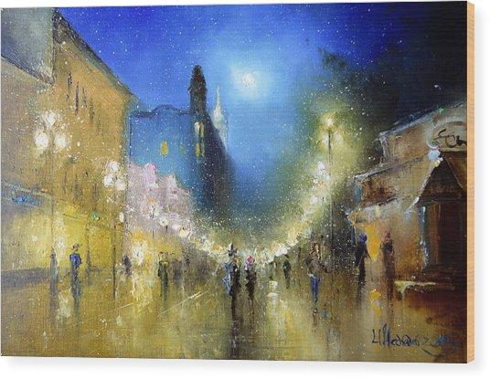 Arbat Night Lights Wood Print