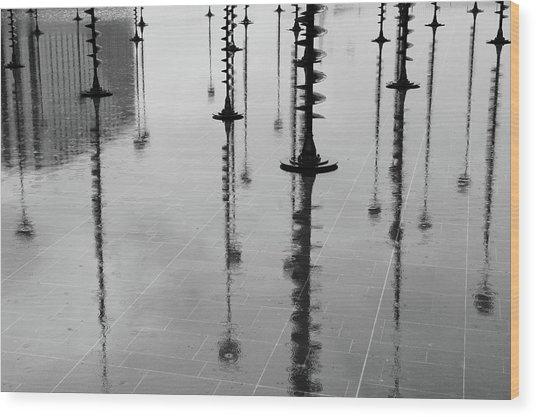 Arbres Lumineux In The Rain Paris  Wood Print