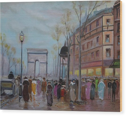 Wood Print featuring the painting Arc De Triompfe - Lmj by Ruth Kamenev