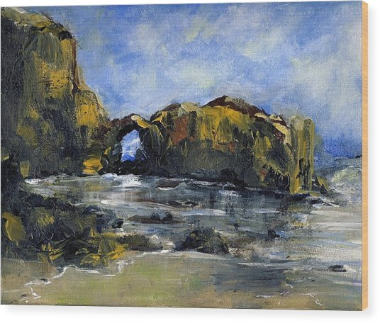 Arch At Pearl Beach Over Cast Wood Print by Randy Sprout