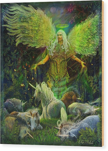 Archangel Raphael Protector Of Unicorns Wood Print