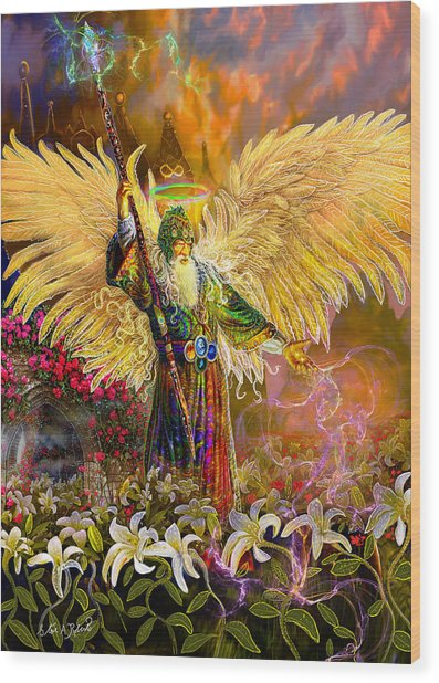 Archangel Raziel-angel Tarot Card Wood Print