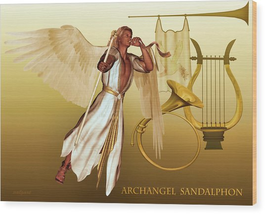 Wood Print featuring the digital art Archangel Sandalphon by Valerie Anne Kelly