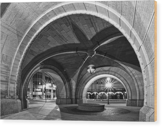 Arched In Black And White Wood Print
