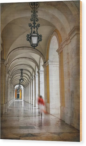 Arched Walkway Terreiro Do Paco Lisbon Portugal  Wood Print