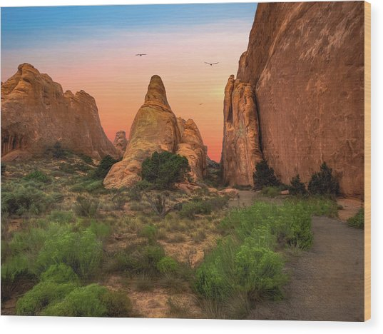 Arches National Park Sunset Wood Print