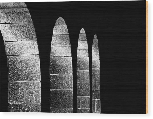 Arches Per Israel - Black And White Wood Print by Deb Cohen