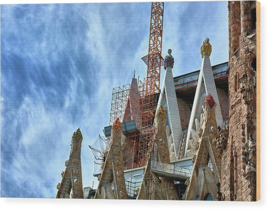 Architectural Details Of The Sagrada Familia Wood Print