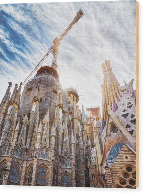 Architectural Details Of The Sagrada Familia In Barcelona Wood Print