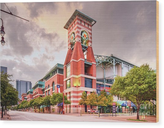 Architectural Photograph Of Minute Maid Park Home Of The Astros - Downtown Houston Texas Wood Print