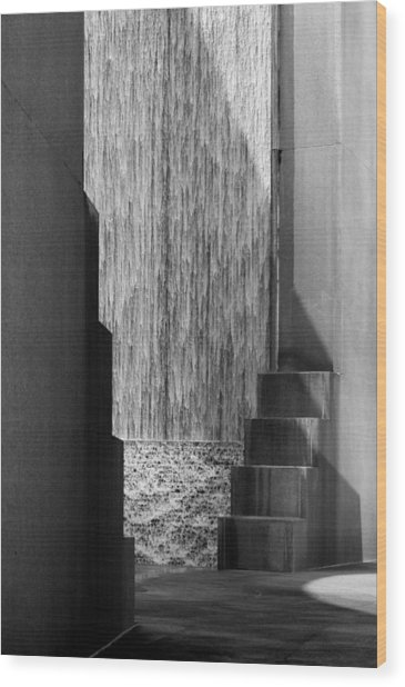 Architectural Waterfall In Black And White Wood Print