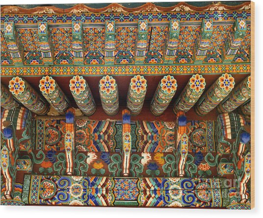 architecture of Korean Buddhism - Eaves of Sangwongsa Wood Print by Sharon Hudson