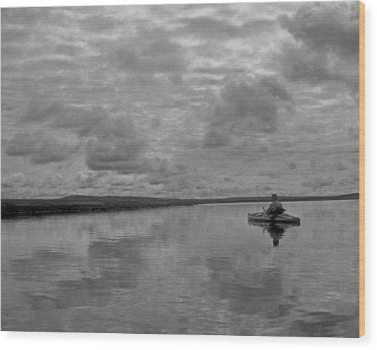 Arctic Kayak Wood Print