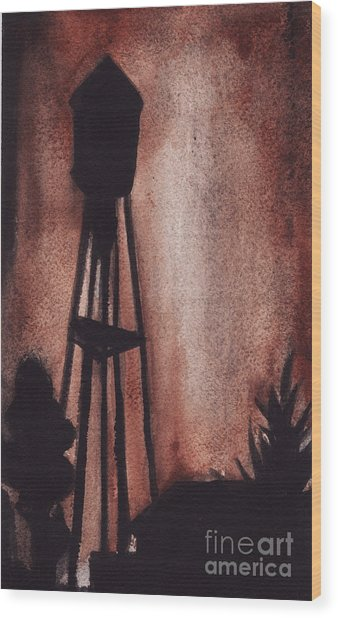 Ardmore Watertower Wood Print by Ron Erickson