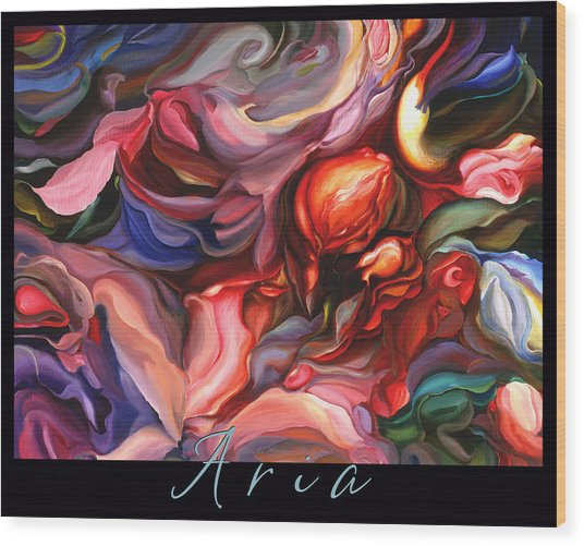 Aria - Original Acrylic Painting With Added Border-title Wood Print